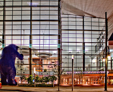 The big blue bear looking in to the Colorado Convention Center in downtown Denver