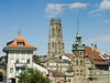 Cathedral, Hotel de Ville, Fribourg - Switzerland (as seen from Route des Alpes)<br /> Konica Minolta Dimage A2