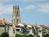 Cathedral St. Nicolas, Bourg, Fribourg, Switzerland (as seen from the Piscine de la Motta)<br /> Konica Minolta Dimage A2