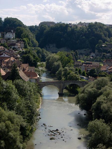 Pont de Saint Jean, Sarine river (as seen from the Cafe Belvedere, Stalden)<br /> Konica Minolta Dimage A2