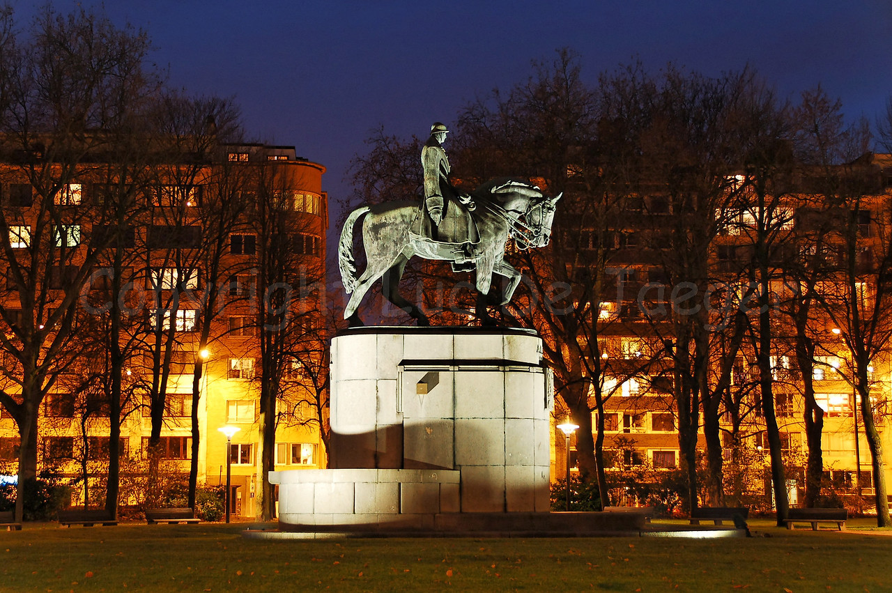 "Bronze statue of King Albert in the King Albert Park (Koning Albert Park), commonly named ""Zuidpark"" in Ghent (Gent), Belgium. Captured at dusk."