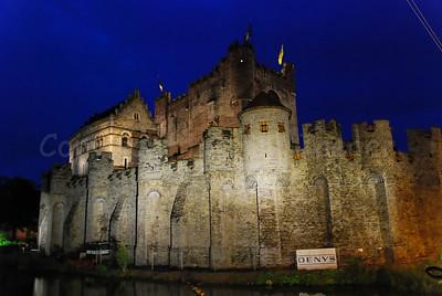 The Gravensteen castle in Ghent (Gent), Belgium captured at night.