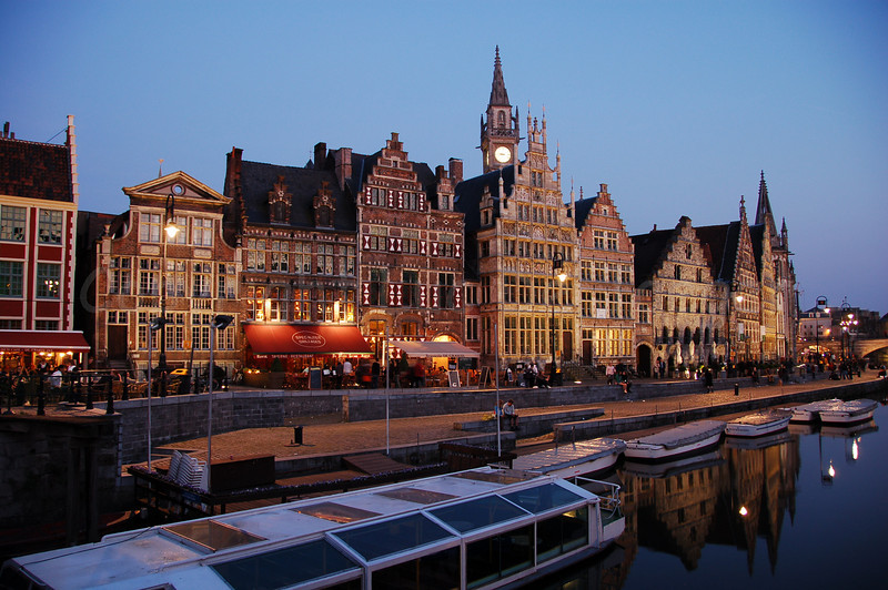 Evening shot of the Graslei in the city of Ghent (Gent), Belgium.