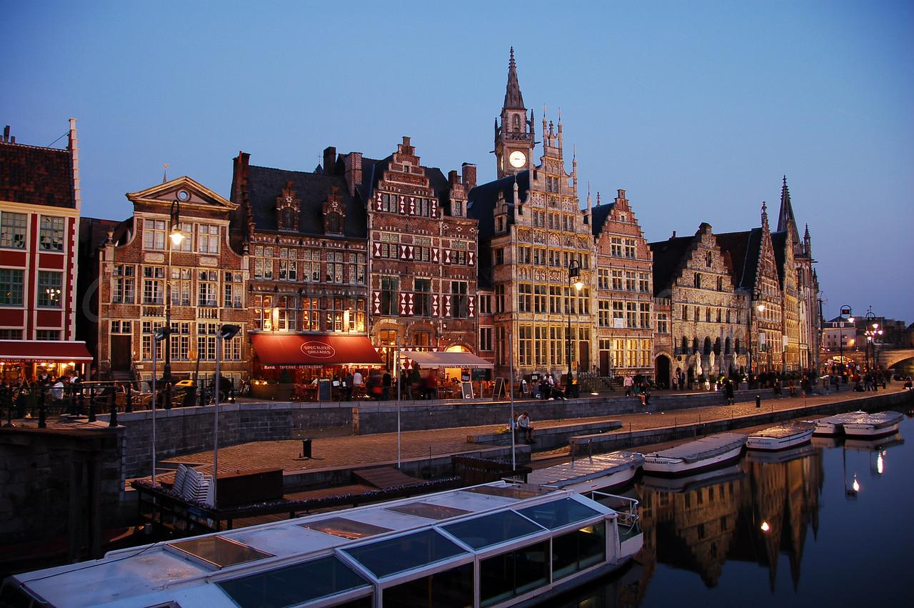 Evening shot of the Graslei in the city of Ghent (Gent), Belgium.