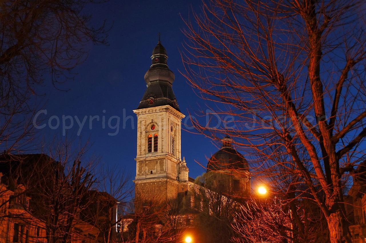 The back of the Our Lady-St-Peter Church (Onze-Lieve-Vrouw Sint-Pieterskerk) near the Sint Pietersplein in Gent (Ghent), Belgium. Shot at dusk.