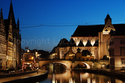 Evening shot of the St Michielsbrug (St Michael's Bridge near the Corn Market, Korenmarkt) and Graslei in the city of Ghent, Belgium. It's a pity there is not that much Christmas lighting or atmosphere! Shot around Xmas 200.