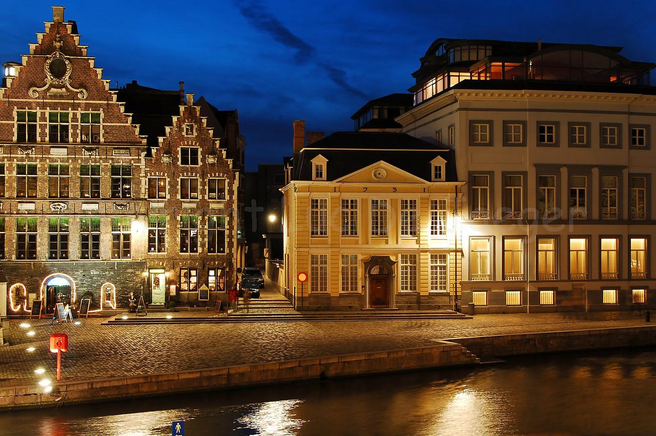 Evening shot of the Korenlei in the city of Ghent (Gent), Belgium. Captured from the St Michael's Bridge (Sint Michielsbrug).