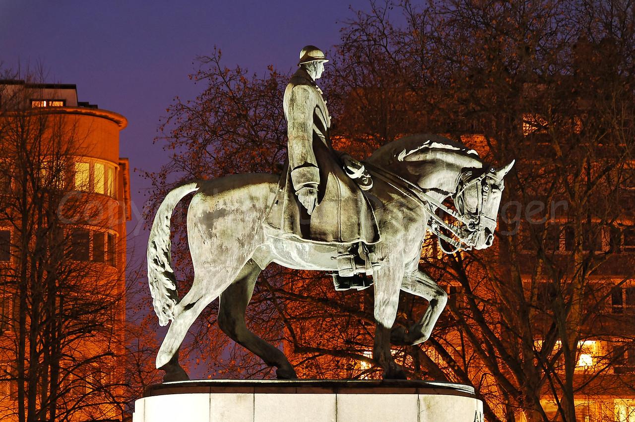 "Bronze statue of King Albert in the King Albert Park (Koning Albert I Park), commonly named ""Zuidpark"" in Ghent (Gent), Belgium. Captured at dusk."