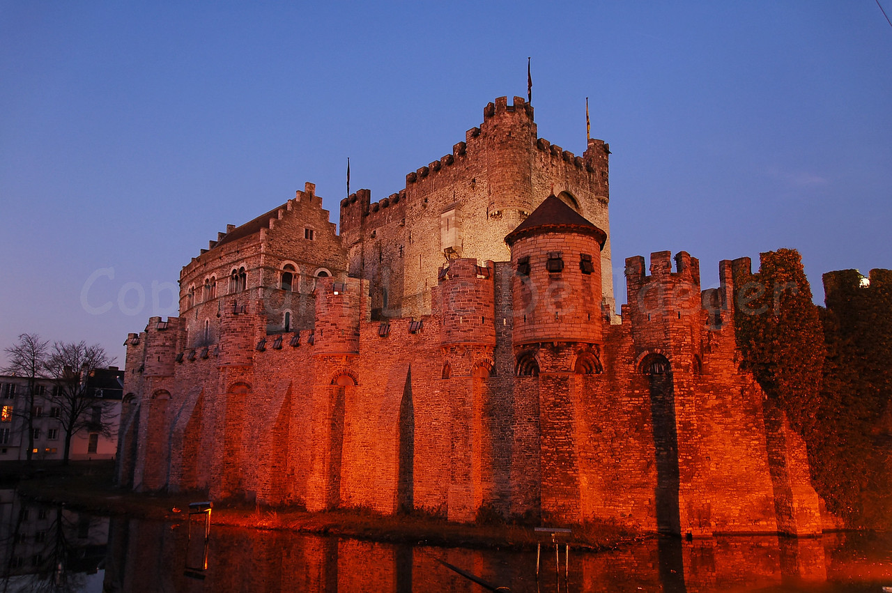 The Gravensteen Castle in the city of Ghent (Gent), Belgium at dusk.