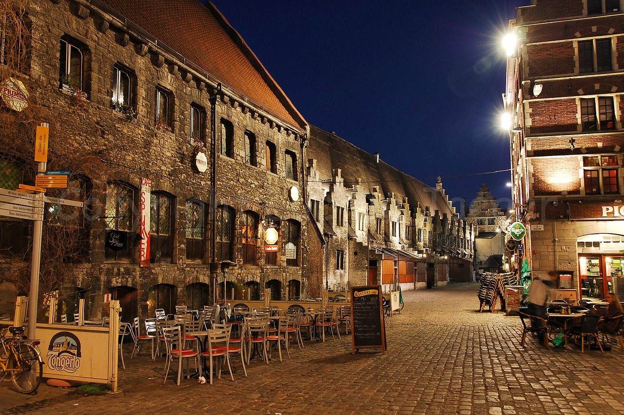 """Evening shot of the Pensmarkt in the center of the city of Ghent (Gent), Belgium. Captured from the """"Hooiaard."""""""