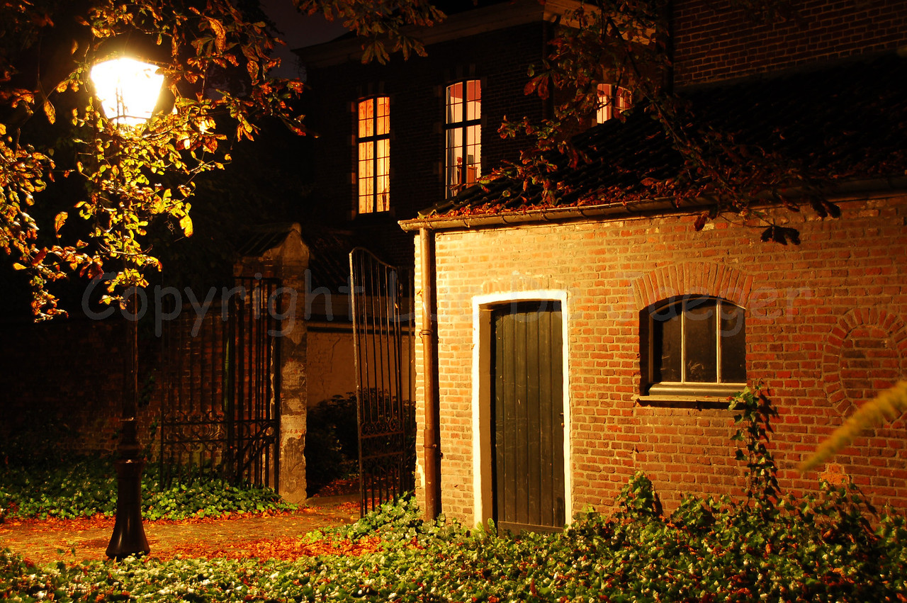 Night image of the Our Lady Ter Hoyen beguinage, one of the three beguinages in Ghent (Gent), Belgium. This beguinage is situated in the centre of the city and is an area of tranquile rest and peace near busy streets.