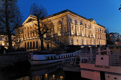 View on the Court of Justice (Justitiepaleis) in Ghent (Gent), Belgium at dusk/night.