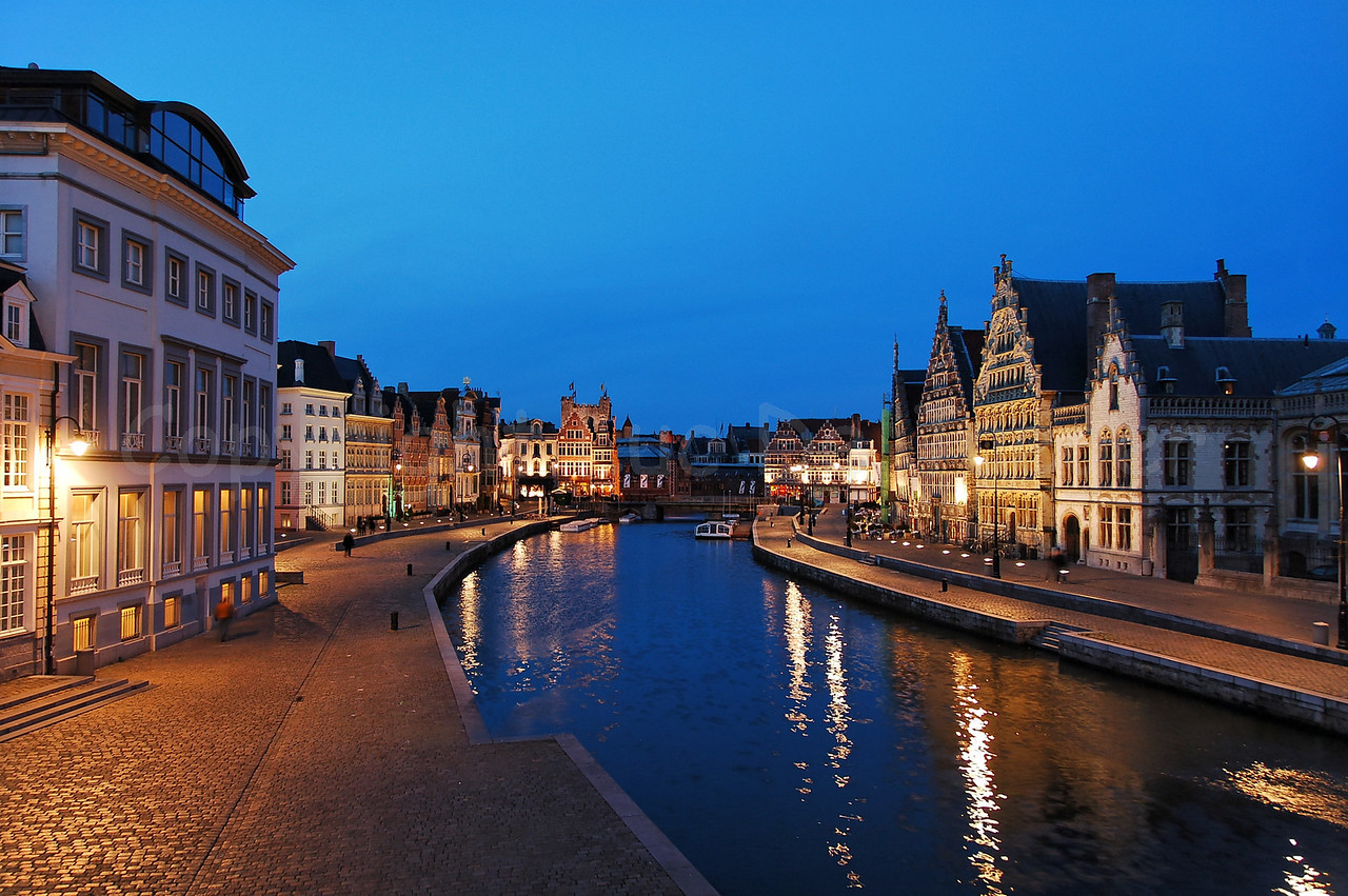 Evening shot of the Korenlei (left) and Graslei (right) in the city of Ghent (Gent), Belgium. Captured from the St Michael's Bridge (Sint Michielsbrug).