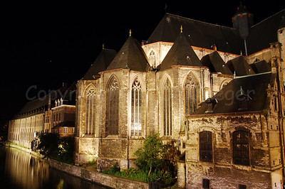 The side wall of the St Michael's Church (St Michielskerk) along the St Michael's bridge (St Michielsbrug) in Ghent (Gent), Belgium.