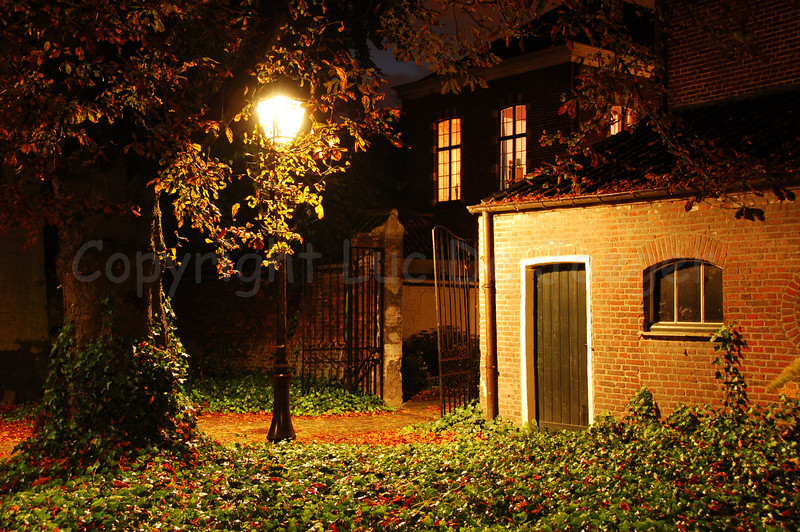 Night image of the Our Lady Ter Hoyen beguinage, one of the three beguinages in Ghent, Belgium. This beguinage is situated in the centre of the city and is an area of tranquile rest and peace near busy streets.