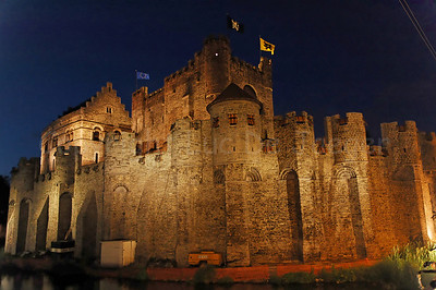 The Gravensteen castle in the center of the city of Ghent (Gent), Belgium, captured at night.