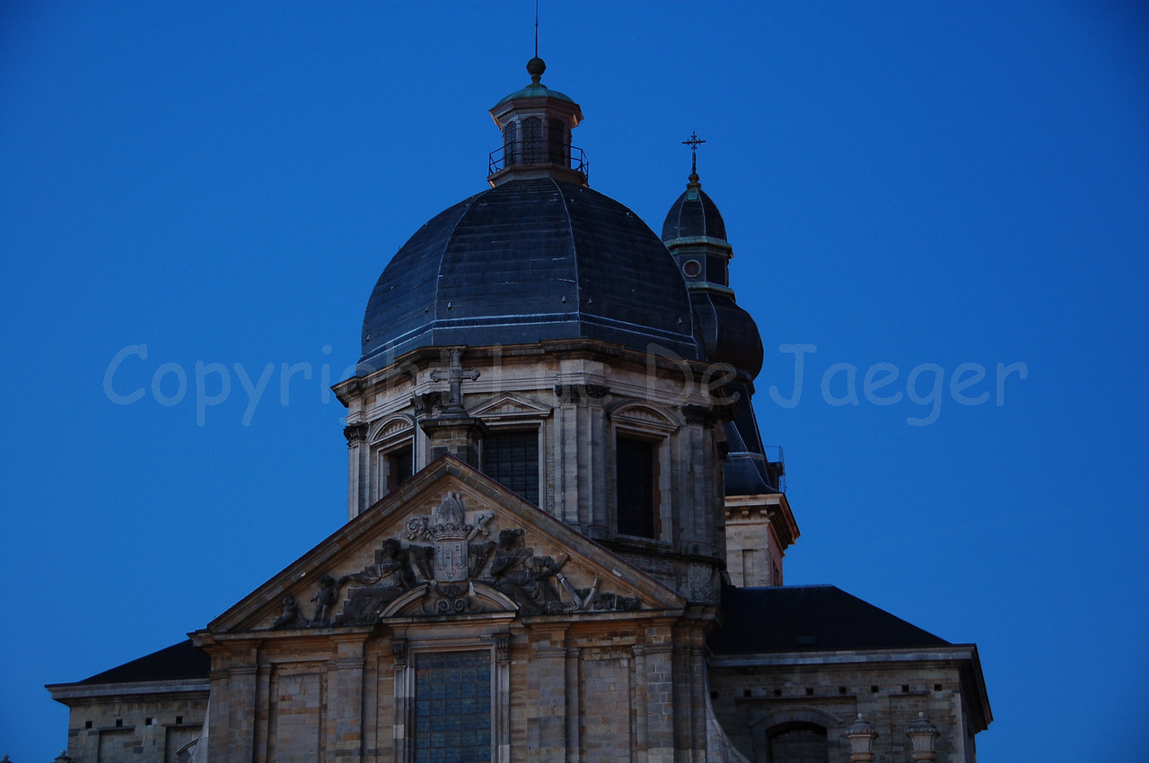 The dome of the Our-Lady-St-Peter Church (Onze-Lieve-Vrouw Sint-Pieterskerk) along the Sint Pietersplein in Gent (Ghent), Belgium. Shot at dusk.