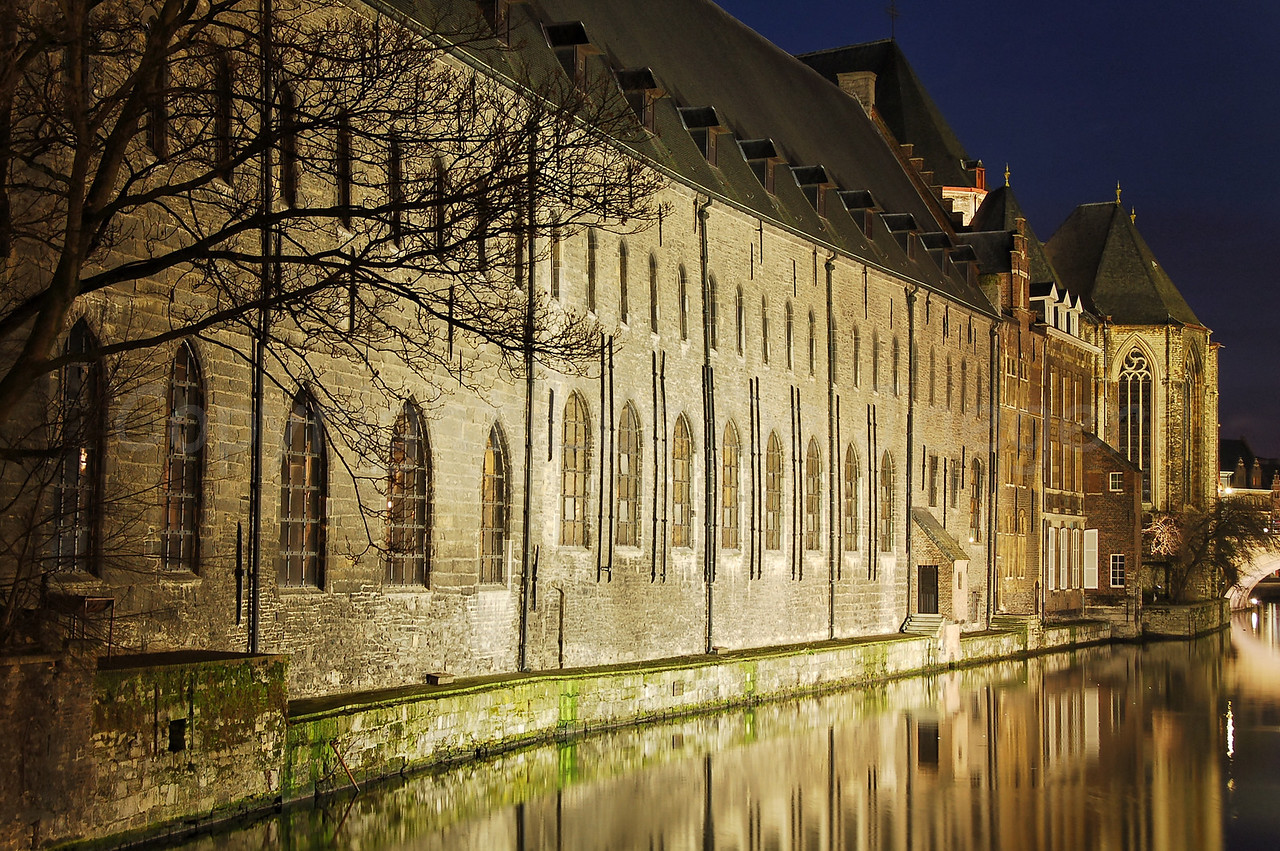 """Evening shot of the back-wall of """"het Pand"""" in the city of Ghent (Gent), Belgium."""