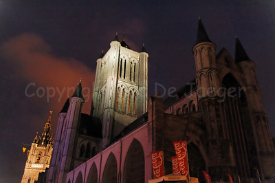 The Church of St Nicolas (Sint Niklaaskerk) in Ghent (Gent), Belgium, captured at night. In the background is the Belfry. This is NO HDR photo.