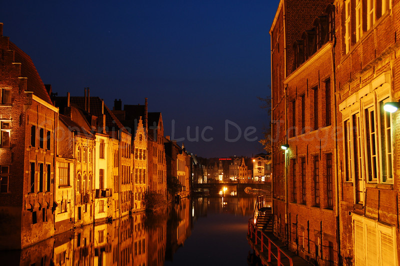 Evening view on the Leie canal, captured from the Zuivelbrug in Ghent (Gent), Belgium.