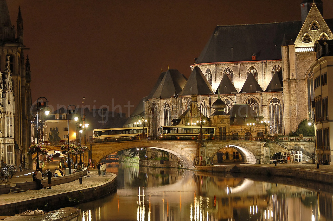 """Night shot in the centre of Ghent (you see the St. Michielsbrug -- St. Michael's bridge in the neighborhood of the Korenmarkt -- """"Corn Market"""")."""