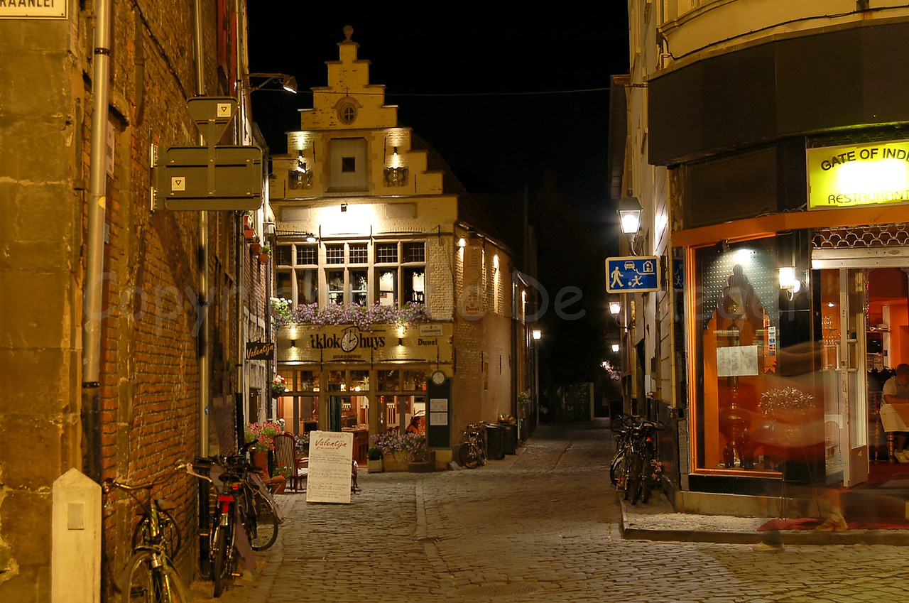 """Night or evening shot in the centre of Ghent (Belgium) in the neighborhood of the Vrijdagmarkt (Friday Market), the Rodekoningstraat, marking the entrance of the """"Patershol."""""""