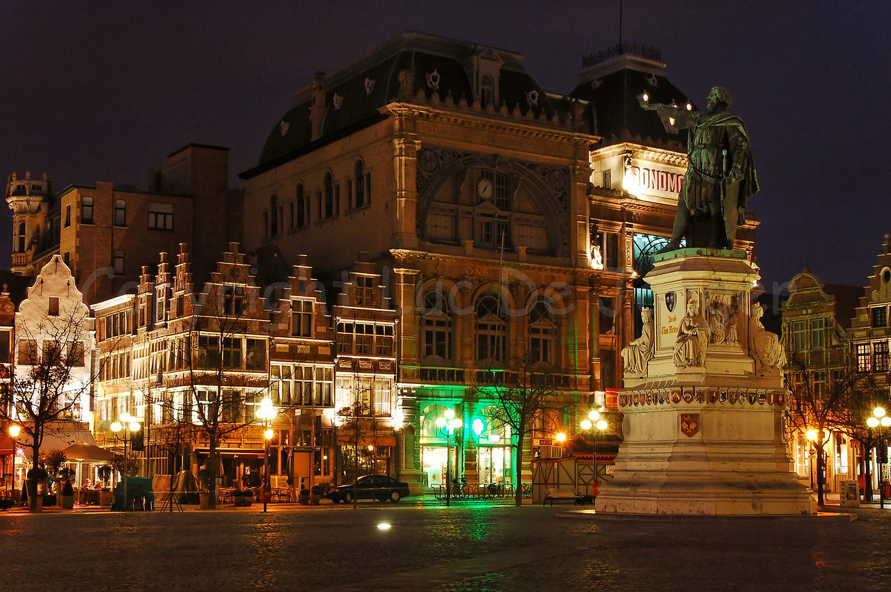 Night image of the Vrijdagmarkt in Ghent (Gent), Belgium. To the right is the statue of Jacob Van Artevelde.