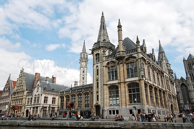 View on the Graslei in Ghent (Gent), Belgium. The building on the corner is the former central post office, currently a shopping center/mall.