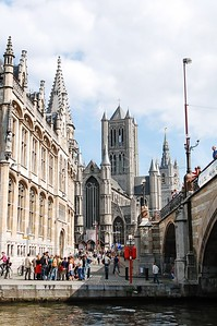 View on the St Niklaaskerk (Church of St Nicolas), shot from the Korenlei aside from the st Michael's bridge in Ghent (Gent), Belgium.