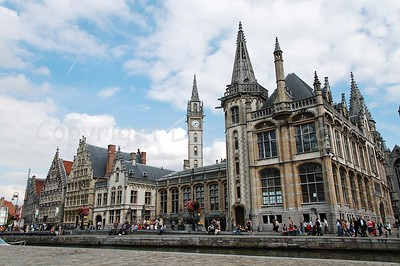 View on the Graslei in Ghent (Gent), Belgium. The building on the corner (to the right) is the former central post office, currently a shopping center/mall.