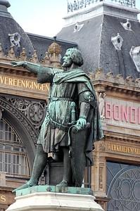Close-up of the statue of Jacob Van Artevelde at the Friday Market (Vrijdagmarkt) in the centre of the city of Ghent/Gent, Belgium.