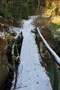 View on a small bridge in the Citadelpark in Ghent (Gent), Belgium in the snow.
