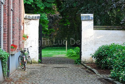 The Our Lady Ter Hoyen beguinage, one of the three beguinages in Ghent (Gent), Belgium. This beguinage is situated in the centre of the city and is an area of tranquile rest and peace near busy streets.
