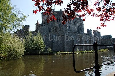 """The Gravensteen castle in Ghent (Gent), Belgium. Image shot from a very small side street of the """"Gewad""""."""