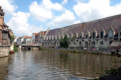 """Back wall of the """"Groot Vleeshuis"""" (meat house), built between 1407 and 1419, captured from the Appelbrugparkje in Ghent (Gent), Belgium. Currently, it is a covered market for regional products."""