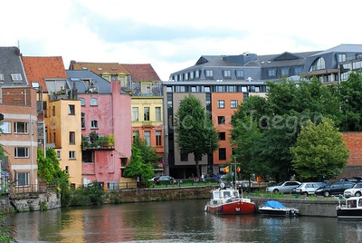 Colorful walls along the Kuiperskaai in Ghent (Gent), Belgium. Image captured from the Brabantdam.