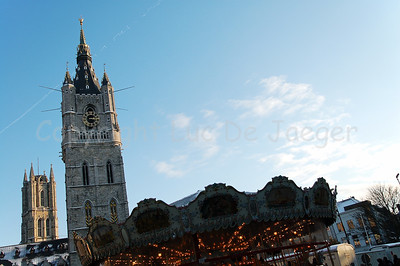 The Belfry (in front) and the Cathedral of St Bavo in the background in Ghent (Gent), Belgium.