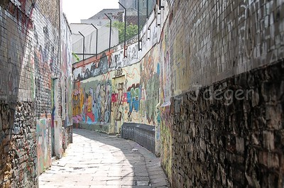 The Werregarenstraat, a side street connecting the Hoogpoort and Onderstraat, is an alley full of graffiti and is situated in the center of Ghent (Gent), Belgium.