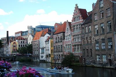 """The river """"Leie"""", shot from the Kraanlei in Ghent (Gent), Belgium."""
