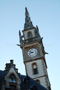 The tower of the former post-office at the Korenmarkt in Ghent (Gent), Belgium. Currently, it's a shopping center.