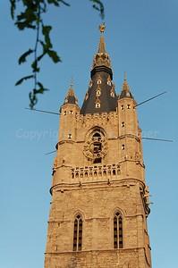 Belfort (Belfry) at sunset in the centre of Gent/Ghent - Belgium.