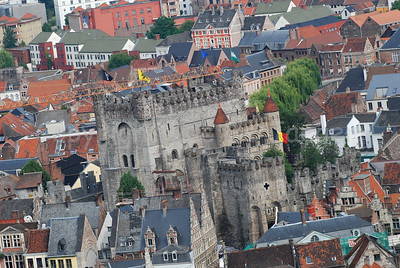 The Gravensteen castle in the center of the city of Ghent (Gent), Belgium.