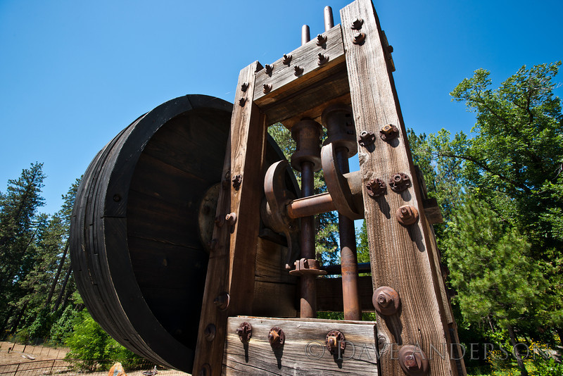 Small hammer mill, used to pulverize gold-bearing ore.<br /> Empire Mine, Grass Valley, Ca.