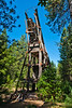 Old Headframe, used to winch men and equipment up and down mineshafts.<br /> Empire Mine, Grass Valley, Ca.