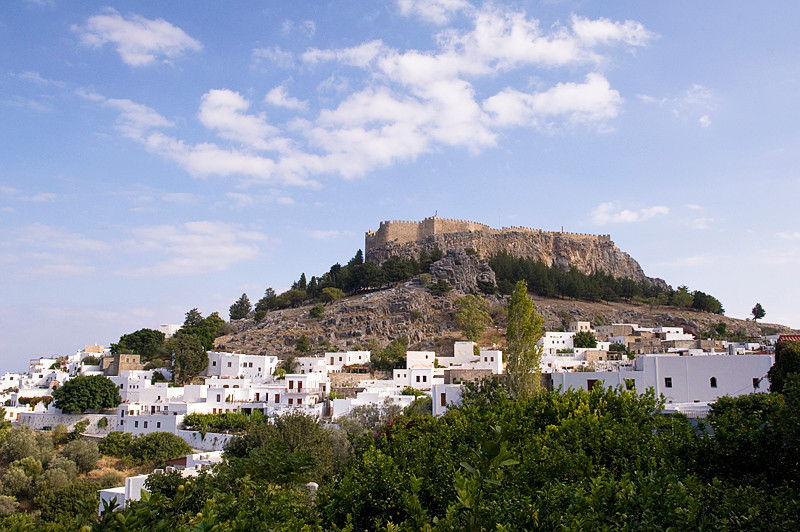 Acropolis of Lindos, towering over the town of Lindos, Rhodes, Greece