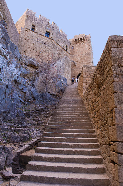 Entrance steps to Acropolis of Lindos, at its base