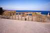 The colonnade and main entrance steps up to the Temple of Athena on the Acropolis of Lindos