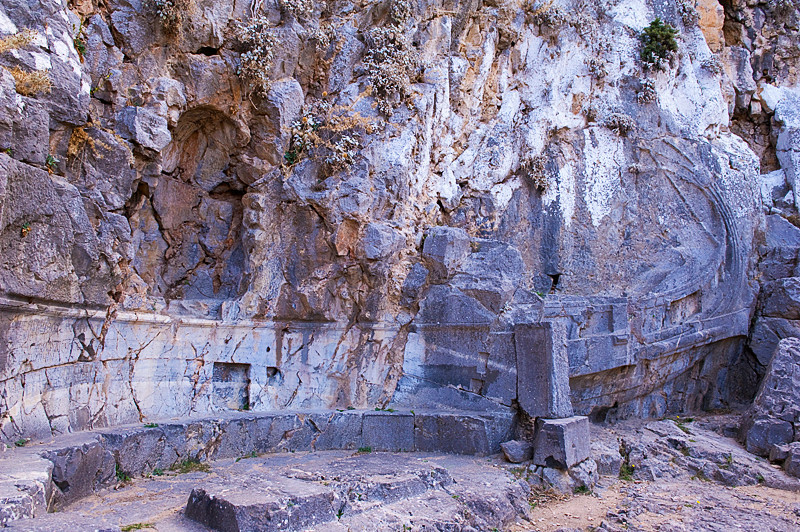 Entrance to Acropolis of Lindos, at its base, with relief carved into wall, showing the stern of a warship, which served as the base of a bronze portrait statue of Hagesandros, son of Mikion, the hero of a naval victory of Rhodes. (early 2nd c. BC)