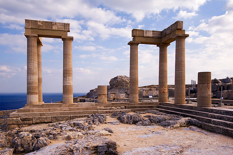 The Temple of Athena at the Acropolis of Lindos, Lindos, Rhodes, Greece