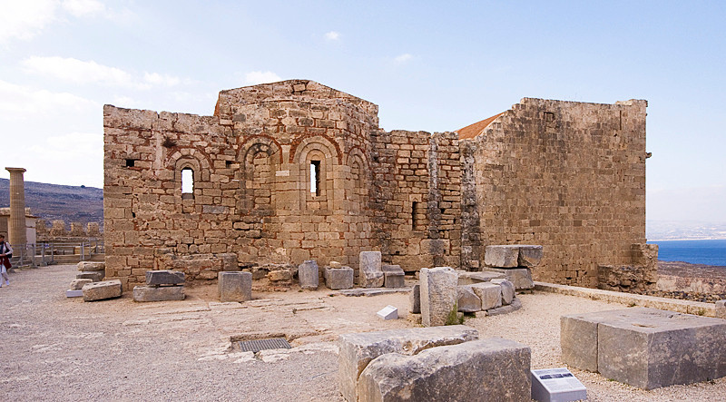 Part of the ruins of the Greek Orthodox Church of St John on the Acropolis of Lindos